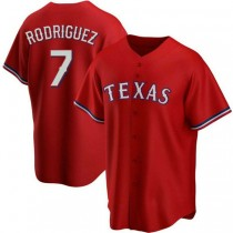 Youth Ivan Rodriguez Texas Rangers #7 Authentic Red Alternate A592 Jersey