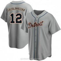 Youth Jarrod Saltalamacchia Detroit Tigers #12 Authentic Gray Road A592 Jersey