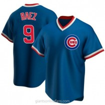 Youth Javier Baez Chicago Cubs #9 Authentic Royal Road Cooperstown Collection A592 Jersey