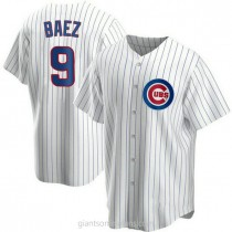 Youth Javier Baez Chicago Cubs #9 Authentic White Home A592 Jersey