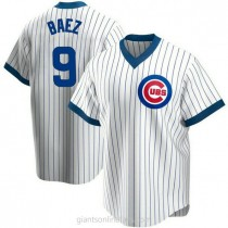 Youth Javier Baez Chicago Cubs #9 Authentic White Home Cooperstown Collection A592 Jerseys
