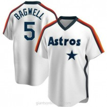 Youth Jeff Bagwell Houston Astros #5 Authentic White Home Cooperstown Collection Team A592 Jersey