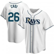 Youth Ji Man Choi Tampa Bay Rays #26 Authentic White Home A592 Jersey
