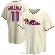 Youth Jimmy Rollins Philadelphia Phillies #11 Authentic Cream Alternate A592 Jersey