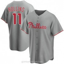 Youth Jimmy Rollins Philadelphia Phillies #11 Replica Gray Road A592 Jersey