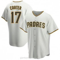Youth Joe Carter San Diego Padres #17 Authentic White Brown Home A592 Jerseys