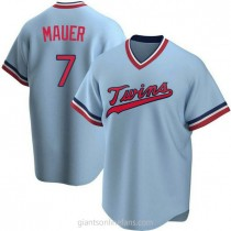 Youth Joe Mauer Minnesota Twins #7 Authentic Light Blue Road Cooperstown Collection A592 Jersey