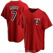 Youth Joe Mauer Minnesota Twins #7 Authentic Red Alternate A592 Jersey