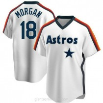Youth Joe Morgan Houston Astros #18 Authentic White Home Cooperstown Collection Team A592 Jersey