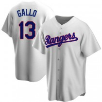 Youth Joey Gallo Texas Rangers #13 Replica White Home Cooperstown Collection A592 Jersey