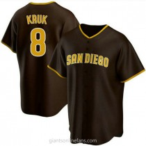 Youth John Kruk San Diego Padres #8 Authentic Brown Road A592 Jerseys
