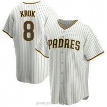 Youth John Kruk San Diego Padres #8 Authentic White Brown Home A592 Jersey