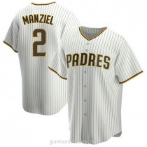 Youth Johnny Manziel San Diego Padres Authentic White Brown Home A592 Jersey