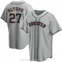 Youth Jose Altuve Houston Astros #27 Authentic Gray Road A592 Jersey