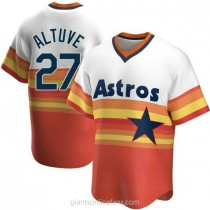 Youth Jose Altuve Houston Astros #27 Authentic White Home Cooperstown Collection A592 Jersey