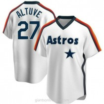 Youth Jose Altuve Houston Astros #27 Authentic White Home Cooperstown Collection Team A592 Jersey