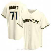 Youth Josh Hader Milwaukee Brewers #71 Authentic Cream Home A592 Jersey