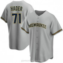Youth Josh Hader Milwaukee Brewers #71 Authentic Gray Road A592 Jerseys