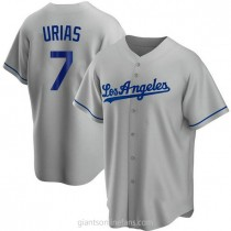 Youth Julio Urias Los Angeles Dodgers Replica Gray Road A592 Jersey