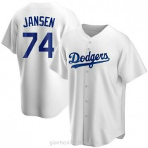 Youth Kenley Jansen Los Angeles Dodgers Replica White Home A592 Jersey