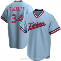 Youth Kirby Puckett Minnesota Twins #34 Authentic Light Blue Road Cooperstown Collection A592 Jersey