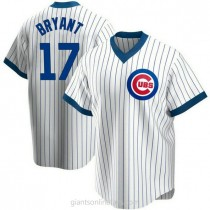 Youth Kris Bryant Chicago Cubs #17 Authentic White Home Cooperstown Collection A592 Jerseys