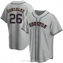 Youth Luis Gonzalez Houston Astros #26 Authentic Gray Road A592 Jersey