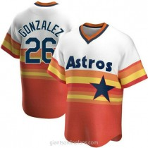 Youth Luis Gonzalez Houston Astros #26 Replica White Home Cooperstown Collection A592 Jersey