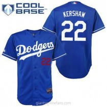 Youth Majestic Clayton Kershaw Los Angeles Dodgers #22 Replica Royal Blue Cool Base A592 Jerseys