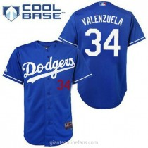 Youth Majestic Fernando Valenzuela Los Angeles Dodgers #34 Authentic Royal Blue Cool Base A592 Jerseys