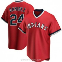 Youth Manny Ramirez Cleveland Indians #24 Authentic Red Road Cooperstown Collection A592 Jersey