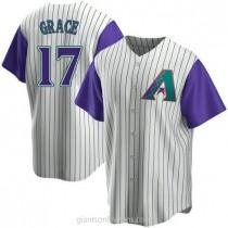 Youth Mark Grace Arizona Diamondbacks #17 Authentic Purple Cream Alternate Cooperstown Collection A592 Jerseys