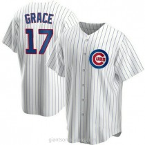 Youth Mark Grace Chicago Cubs #17 Authentic White Home A592 Jersey