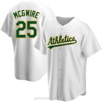 Youth Mark Mcgwire Oakland Athletics #25 Replica White Home A592 Jersey