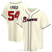 Youth Max Fried Atlanta Braves #54 Authentic Cream Alternate A592 Jersey