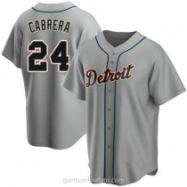 Youth Miguel Cabrera Detroit Tigers #24 Authentic Gray Road A592 Jerseys