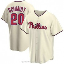 Youth Mike Schmidt Philadelphia Phillies #20 Authentic Cream Alternate A592 Jersey