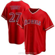 Youth Mike Trout Los Angeles Angels Of Anaheim #27 Authentic Red Alternate A592 Jersey