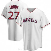 Youth Mike Trout Los Angeles Angels Of Anaheim #27 Authentic White Home A592 Jersey