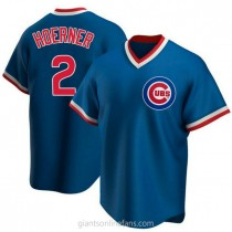 Youth Nico Hoerner Chicago Cubs #2 Authentic Royal Road Cooperstown Collection A592 Jersey