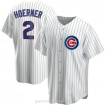 Youth Nico Hoerner Chicago Cubs #2 Authentic White Home A592 Jersey