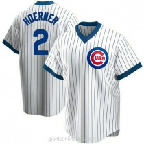 Youth Nico Hoerner Chicago Cubs #2 Authentic White Home Cooperstown Collection A592 Jersey