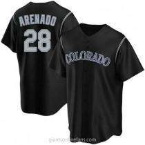 Youth Nolan Arenado Colorado Rockies #28 Replica Black Alternate A592 Jerseys