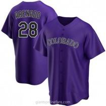 Youth Nolan Arenado Colorado Rockies #28 Replica Purple Alternate A592 Jersey