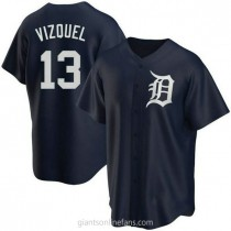 Youth Omar Vizquel Detroit Tigers #13 Authentic Navy Alternate A592 Jersey
