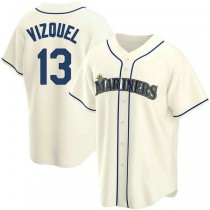 Youth Omar Vizquel Seattle Mariners #13 Authentic Cream Alternate A592 Jersey