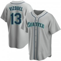 Youth Omar Vizquel Seattle Mariners #13 Authentic Gray Road A592 Jersey