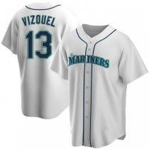 Youth Omar Vizquel Seattle Mariners #13 Authentic White Home A592 Jersey