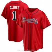 Youth Ozzie Albies Atlanta Braves #1 Authentic Red Alternate A592 Jerseys