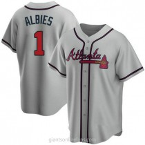 Youth Ozzie Albies Atlanta Braves #1 Replica Gray Road A592 Jersey